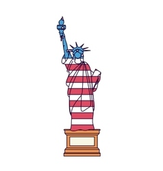 Liberty statue with flag isolated icon design vector