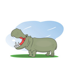 A hippopotamus on a green field vector