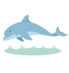 Cartoon graceful blue dolphin with a vector