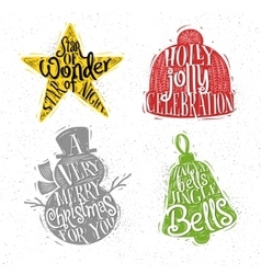 Christmas silhouettes star color vector image vector image