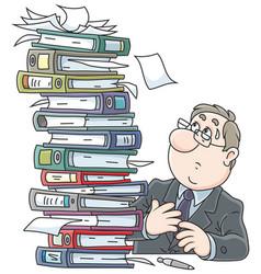 Clerk with folders vector