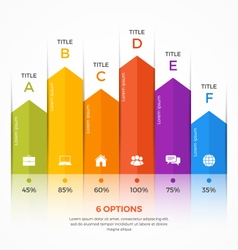 Column chart infographic template 6 options vector