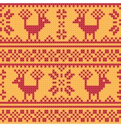 Cross stitch flower and deer vector