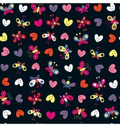 Cute butterflies hearts pattern vector