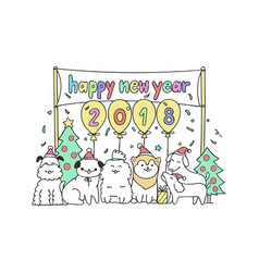 Dog friends happy new year 2018 vector