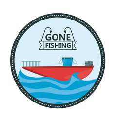 Emblem fishing boat over sea vector
