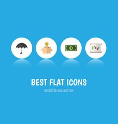 flat icon gain set of money box diagram parasol vector image