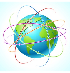 Globe with orbits map Clean vector image vector image