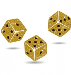 Gold mosaic dice and shadows vector