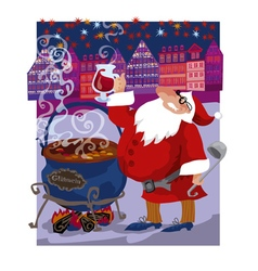 greeting curd of santa mulled wine vector image