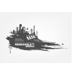Grunge hydroelectric station renewable energy vector