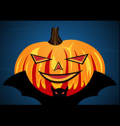 halloween pumpkin on flying bat vector image