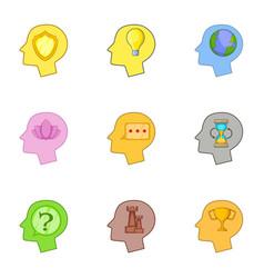 Human head with an idea inside icons set vector
