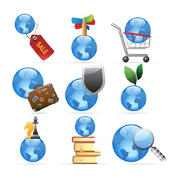 Icons for global concepts vector image vector image