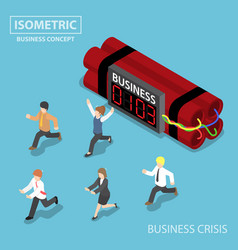 isometric businessman run away from business vector image vector image