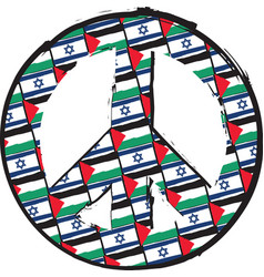 Israel and palestine flags or banner peace love vector