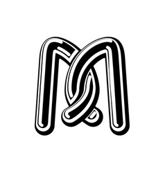 Letter m celtic font norse medieval ornament abc vector