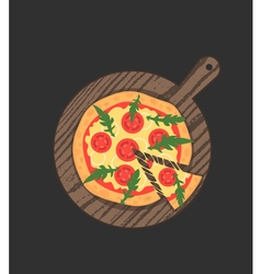 Margherita pizza on wooden board on black table vector