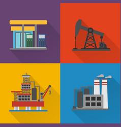 Oil industry modern concept design flat set vector