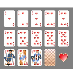 Playing cards heart suit vector