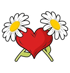 Red heart and crossbones flowers Chamomile and vector image vector image