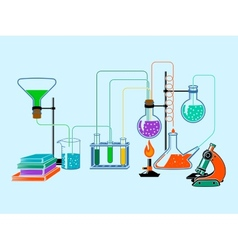 Scientific laboratory flat background vector image vector image