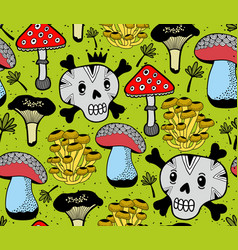 Seamless pattern with funny skulls and vector