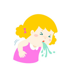 Sick girl vomiting cartoon vector