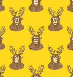 Sketch monkey with reindeer antlers vector image vector image