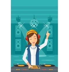 Smiling dj with console vector