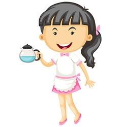Waitress holding tea pot in hand vector
