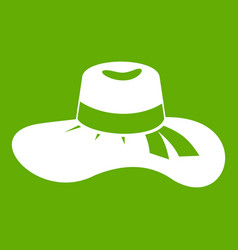 woman hat icon green vector image vector image