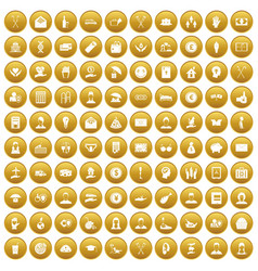 100 philanthropy icons set gold vector