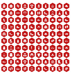 100 rags icons hexagon red vector