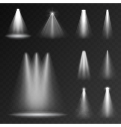 Realistic white gray glowing spotlights set vector