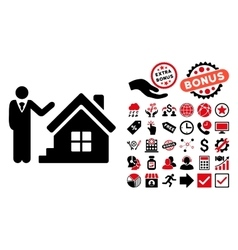Realty agent flat icon with bonus vector