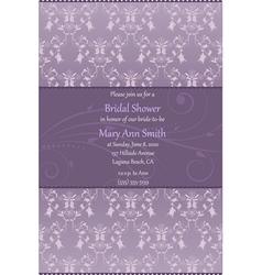 violet bridal shower invitation vector image