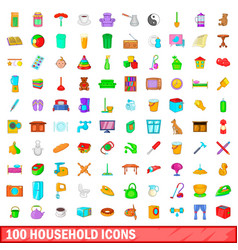 100 household icons set cartoon style vector image