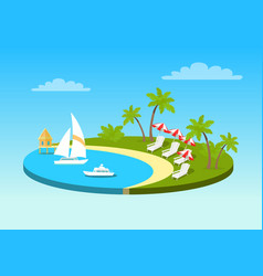 Tropical beach on sunny ocean shore circle concept vector