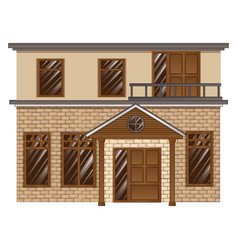 Brick house with balcony on second floor vector