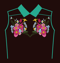 Beautiful flowers embroidery for textile design vector