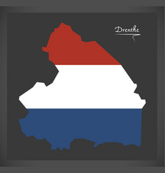 drenthe netherlands map with dutch national flag vector image