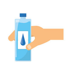 Hand with water bottle vector