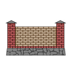 A fence of bricks a different fence single icon vector