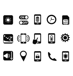 mobile setting icons set vector image