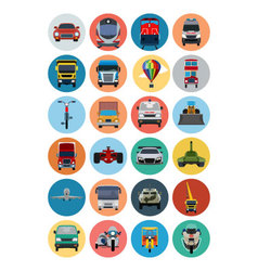Flat transport icons 2 vector