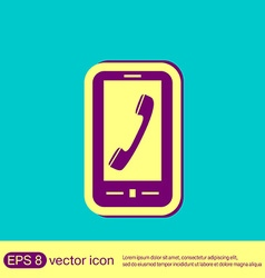 Smartphone with the symbol telephone handset vector
