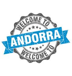 Andorra round ribbon seal vector