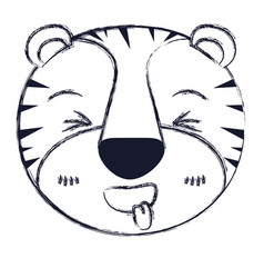 Blurred silhouette cute face of tiger sticking out vector