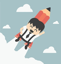 Businessman flying with a rocket pencil vector image vector image